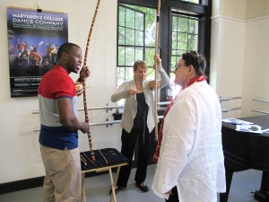 Participants experimenting with different instruments.